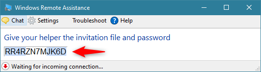 The password generated by Windows Remote Assistance