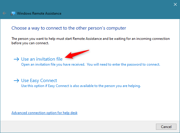 Choosing to Use an invitation file in Windows Remote Assistance