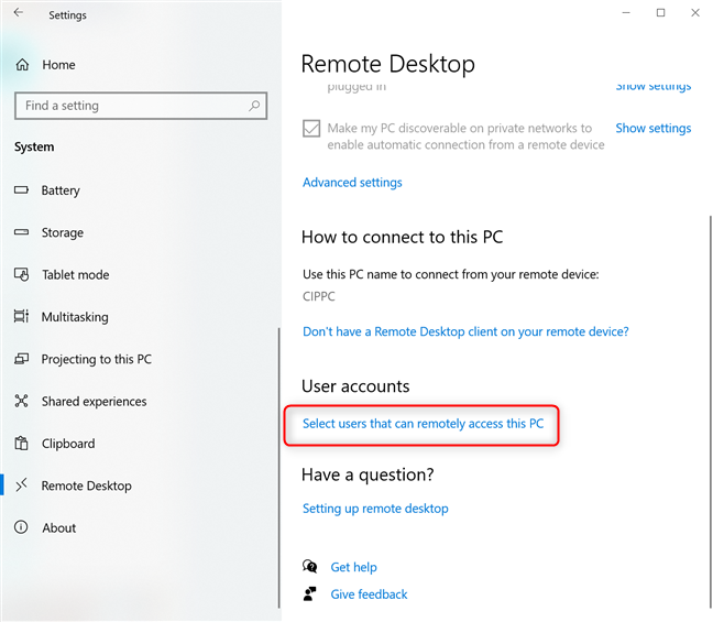 Select users who can remotely access this PC