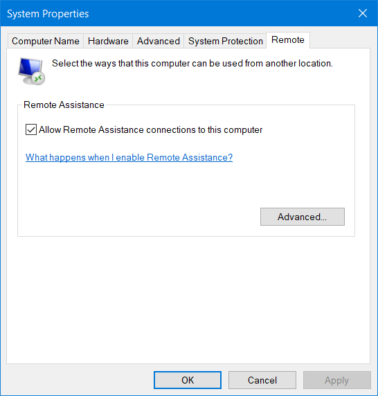 The Remote Desktop settings are missing from System Properties