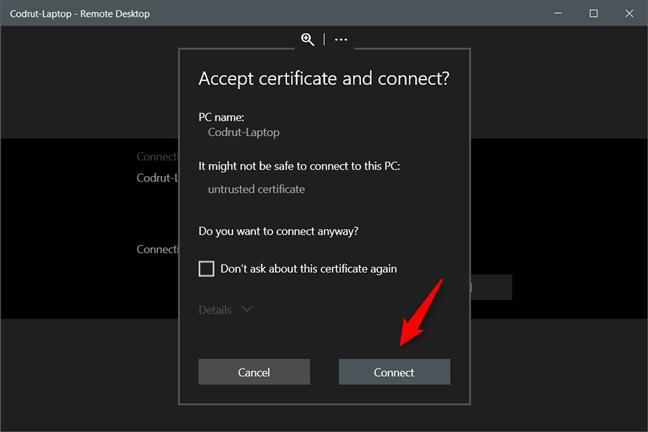 Aceptar certificado y conectarse