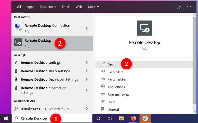 Encontrar la aplicación de escritorio remoto en Windows 10