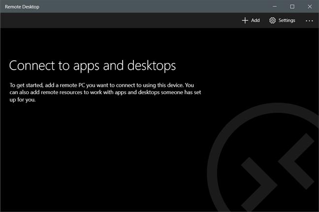 La ventana de escritorio remoto de Microsoft