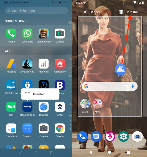 Uninstalling the app from the All Apps screen