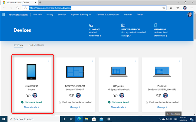 Find your phone in the list of Microsoft account devices