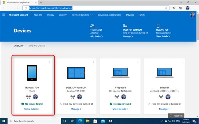 Encuentre su teléfono en la lista de dispositivos de la cuenta Microsoft
