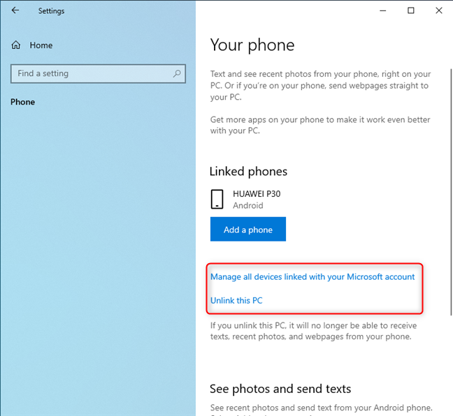 Your phone settings from Windows 10