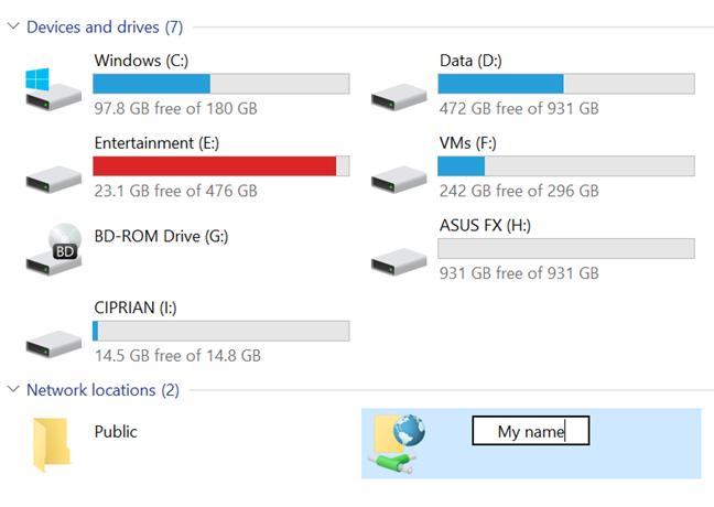 Renaming a network drive in File Explorer