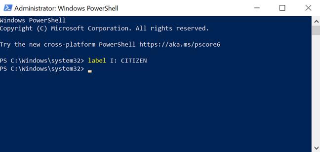 Cambiar el nombre de una unidad en Powershell con el comando label