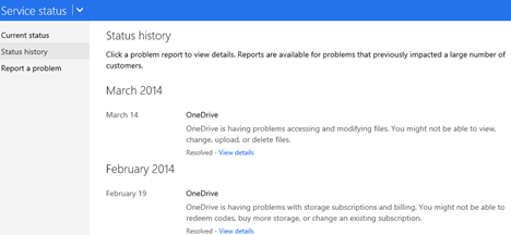 report, issues, problems, services, Microsoft, OneDrive, Outlook.com