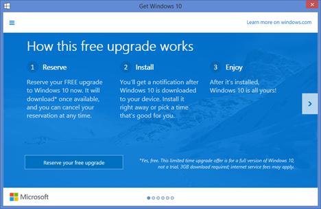 Windows 10, get, reserve, upgrade, free, app, notification