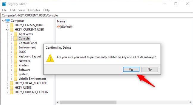 Deleting the Console key from the Windows Registry resets CMD to its default colors