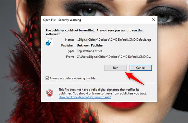 Choosing to run the CMD Default.reg file