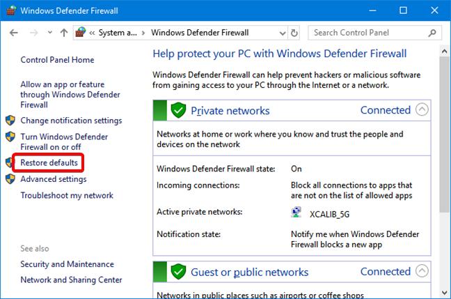 Restore defaults in Windows Defender Firewall