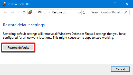 Restore defaults for the Windows Defender Firewall