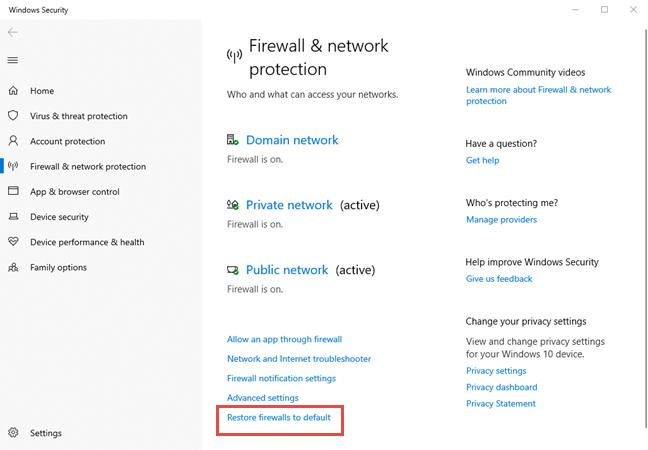 Link to Restore firewalls to default in Windows 10