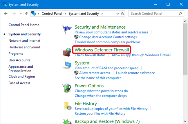 Open Windows Defender Firewall in the Control Panel