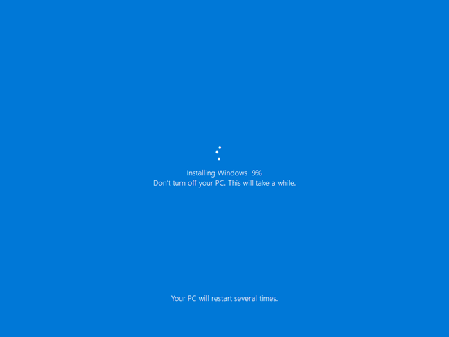 Installing Windows 10 as part of resetting your PC