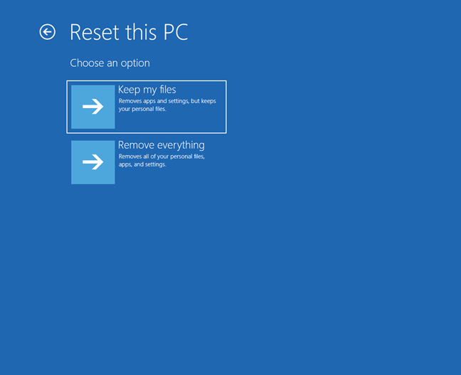 Choose Keep my files on the Reset this PC screen