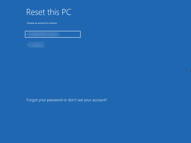 Choose your user to validate the request for reset