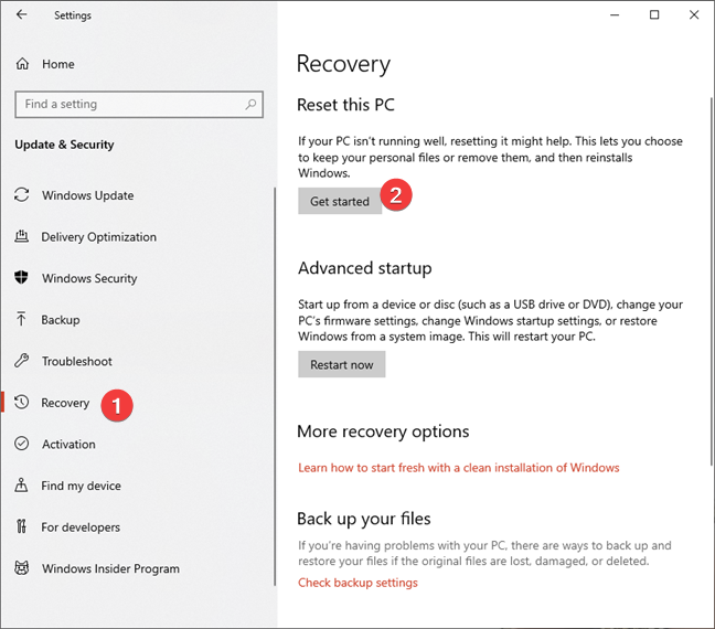 Get started with the reset process in Windows 10