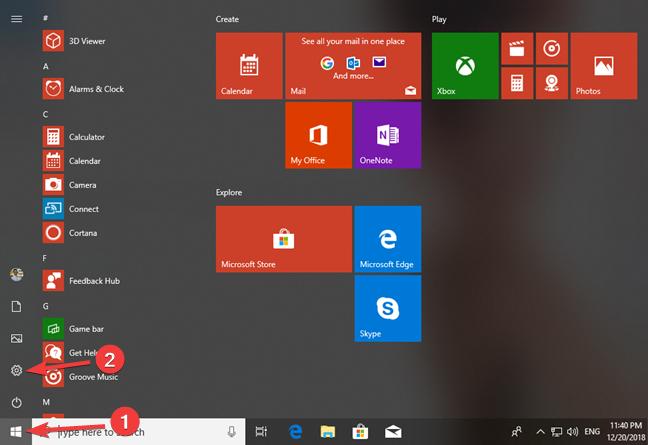 Open Settings from the Start Menu in Windows 10