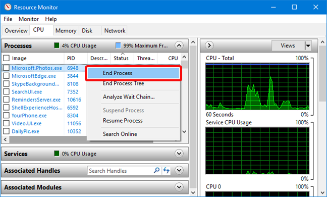 End Process in Resource Monitor