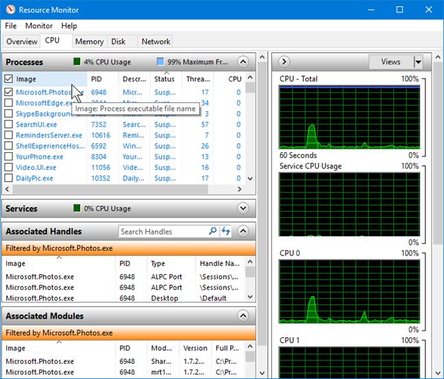 CPU Processes in Resource Monitor