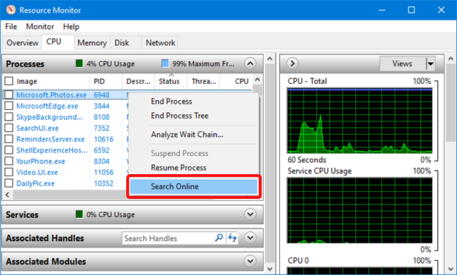 Search Online for a process in Resource Monitor