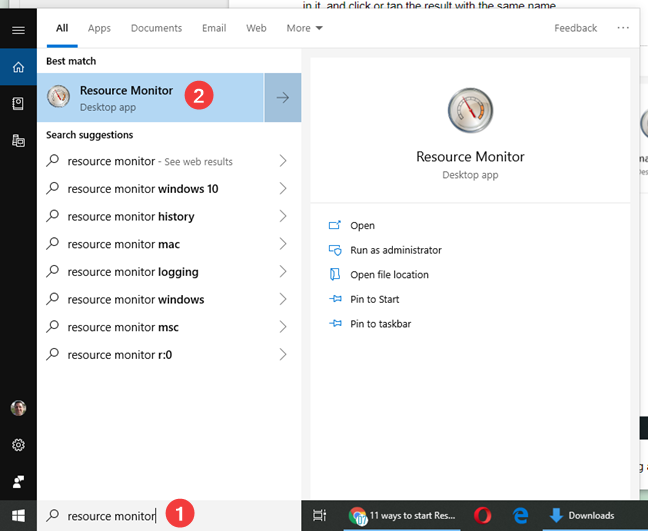 Search for Resource Monitor in Windows 10