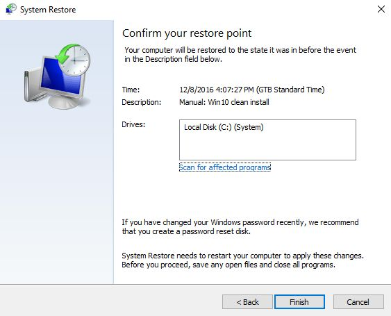 Windows, System Restore