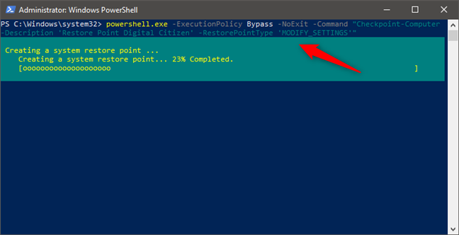 Create a restore point from PowerShell