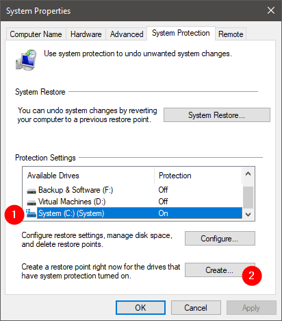 Choosing to create a system restore point