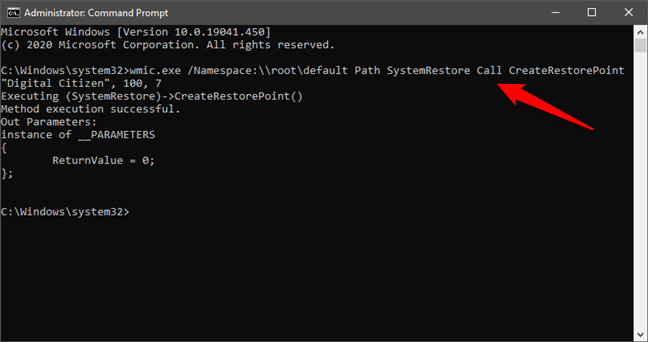 Create a restore point from CMD (Command Prompt)