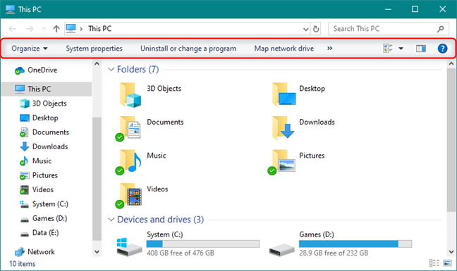 File Explorer with the ribbon disabled