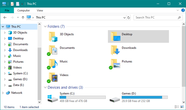 File Explorer with the ribbon hidden