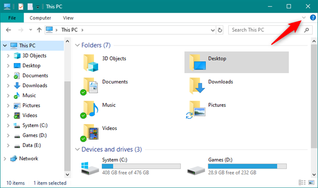 Showing the ribbon in File Explorer