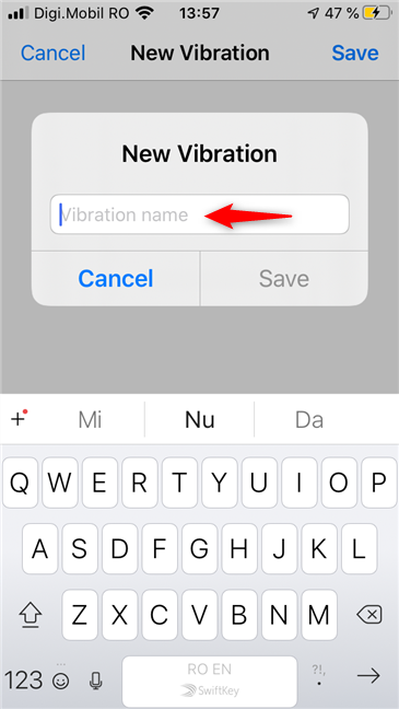 Specifying a name for a new vibration pattern