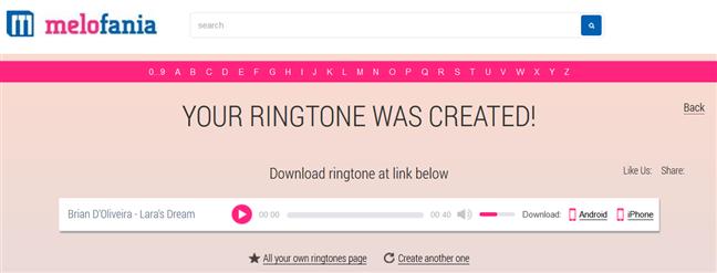 Saving the custom ringtone for iPhone