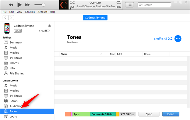 The Tones section from the On My Device list