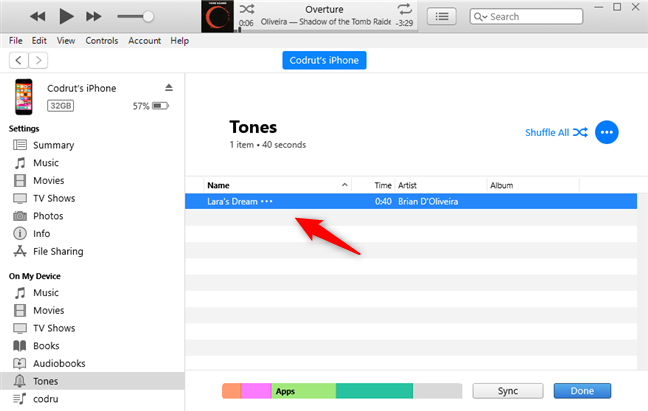 The custom ringtone has been synced with the iPhone