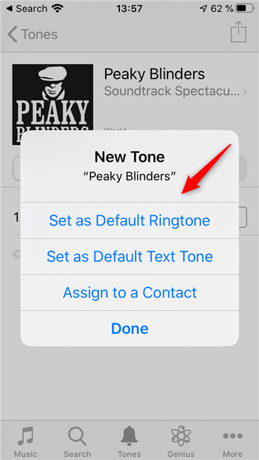 Choose how to use the new ringtone