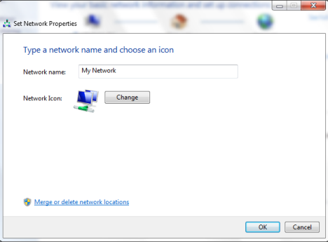 How to change the network's name, as well as its icon, in Windows 7