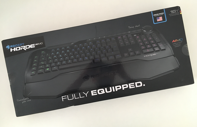 The packaging of the ROCCAT Horde AIMO keyboard