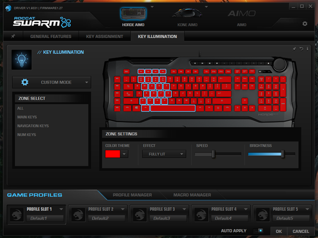 The illumination custom mode for the ROCCAT Horde AIMO keyboard