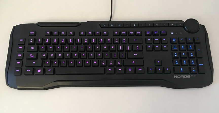 The ROCCAT Horde AIMO keyboard seen from up top