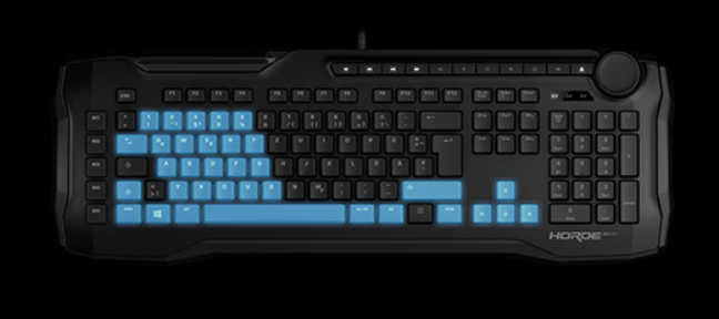 The gaming area with the keys that have anti-ghosting on ROCCAT Horde AIMO