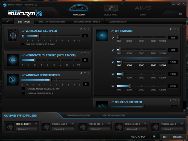 The settings from the ROCCAT Swarm app