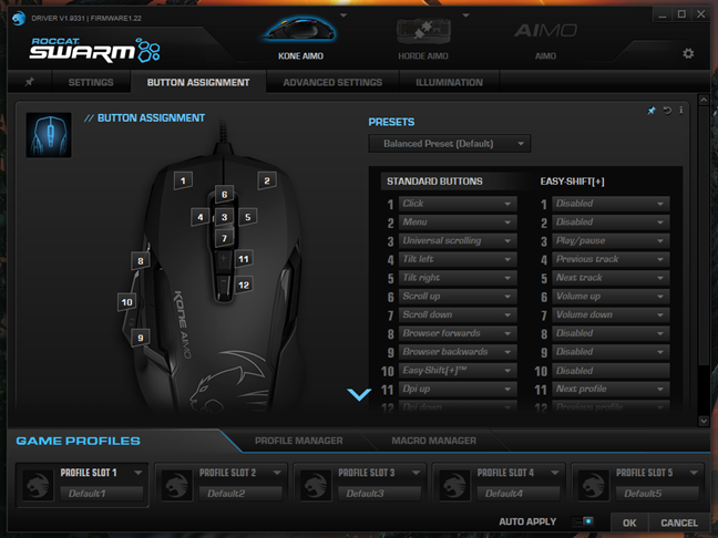The mouse buttons page from the Swarm app