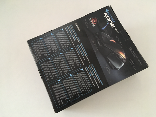 The bottom side of ROCCAT Kone AIMO box